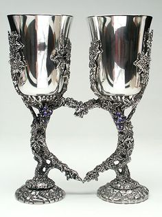 Wedding Goblets with Heart Shape