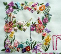 """I ❤ brazilian embroidery . . . This is the letter B, that I designed for the Olden Days art quilt. At one time I had 2 versions of each letter & number in my book """"ABCs for Brazilian Dimensional Embroidery"""" ~By Rosalie Wakefield"""