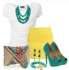 LOLO Moda: Stylish women outfits 2013 find more women fashion on www.misspool.com....black/white pencil skirt, white shirt, with turquoise accessories