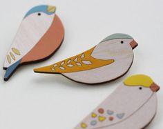 Broche pájaro de madera pájaro broche Coaltit día de la