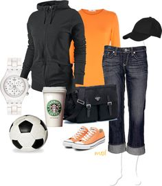 """Fun....(-) the matchy t-shirt...I would opt for a striped t in b or grey on grey... """"Soccer Mom"""" by michelled2711 on Polyvore"""