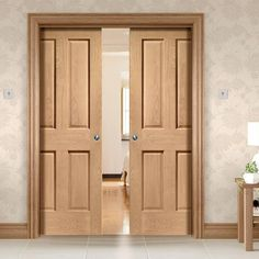 Bespoke Pocket Door sets for those with odd opening sizes, with our beautiful range of doors from XL Joinery you can be sure that only the highest of quality is provided. Double Pocket Door, Pocket Door Frame, Pocket Doors, Oak Doors With Glass, Solid Oak Doors, Shaker Interior Doors, Shaker Doors, Oak Front Door, Door Fittings