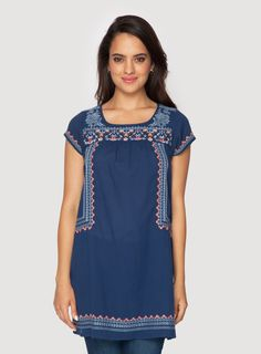 Johnny Was Clothing 3J Workshop Embroidered Cotton Angel Mexican Peasant Tunic in Nightshade Navy Blue