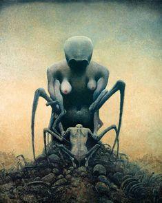 Zdzisław Beksiński was a renowned Polish painter, photographer, and fantasy artist Surrealism Painting, Artist Painting, Painting & Drawing, Arte Horror, Horror Art, Art Macabre, Dark Fantasy, Fantasy Art, Scary Paintings