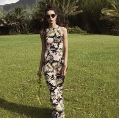 For Love & Lemons Palms Maxi Dress Start packing for your island getaway. Floor length palm print dress. Cut-out back with tie closure, adjustable shoulder straps, and invisible side zipper. NO TRADES For Love and Lemons Dresses
