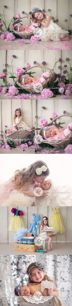 Newborn baby M and her big sister E visit the Rhode Island portrait studio for some sister fun!