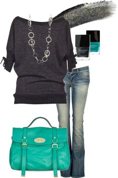 Teal & Grey... I love this simple outfit. Totally me!