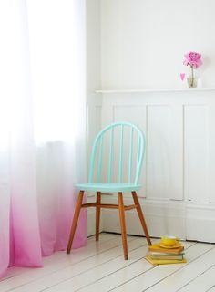 painted chair, dip dye curtains