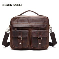 Top Hot Sale Zipper men briefcase 100% Guaranteed Real Genuine Leather Shoulder Messenger bags for Men vintage Wholesale #Affiliate