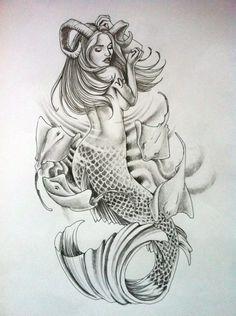 Capricorn Mermaid Tattoo, Small Mermaid Tattoo, Mermaid Sleeve Tattoos, Mermaid Tattoo Designs, Baby Tattoos, Leg Tattoos, Body Art Tattoos, Tatoos, Best Tattoos For Women
