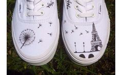 Dandelion & Eiffel Tower Vans by VuVuDesigns on Etsy, $74.00