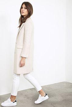 Ivory coat, white jeans, and Stan Smith sneakers. Love this look.