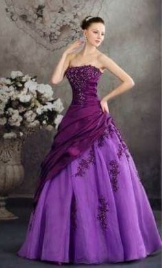 long flowing two-tone purple dress