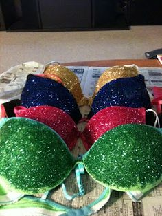GLITTER BRAS! My most successful DIY project to date. Nothing more than glues sticks and dollar store glitter!
