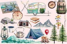 Travel Illustration, Watercolor Illustration, Floral Watercolor, Bullet Art, Bullet Journal Art, Painting & Drawing, Watercolor Paintings, Illustrations, Stickers
