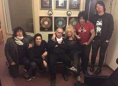 Photo by: Petri Majuri ! Michael and his band behind the scenes at the studio yesterday. 🎸🎶 #SamiYaffa #KarlRockfist #RichJones #SteveConte #MichaelMonroe #Legend #Icon #HanoiRocks