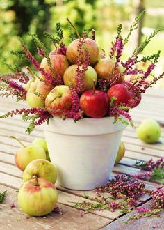 Love using apples in arrangements or just a big bowl of apples on a table....feels homey