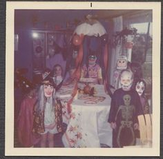 Unusual Vintage Color Photo Surreal Cute Boys & Girls w/ Halloween Masks