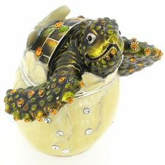Sea Turtle Hatching From Egg Trinket Box With Swarovski Crystal