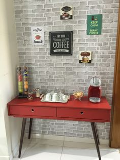 Red Kitchen Inspiration : Mid century modern inspired coffee area