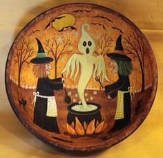 Halloween Art  Primitive Wood Bowl - Two Witches Cooking in a Cauldron - Ghosts Bats, Black Cats, Green Bubbles, Full Moon