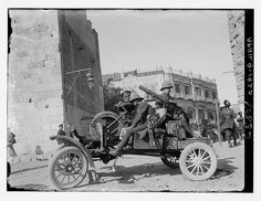 British soldiers with Lewis Machine guns posted at Jaffa Gate ( note the Grand Hotel in background ) , Jerusalem, Palestine circa 1920