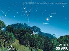 Ultimo evento notevole del mese per giovedì 30 sera, #Mercurio si sostiuisce a #Venere e avvicina le #Pleiadi fino a una distanza di 1,7°. All'orario indicato gli ogetti dovrebbero essere abbastanza alti sull'orizzonte e il cielo abbastanza scuro da poter già scorgere le stelle dell'ammasso. Al link dettagli e effemeridi.  Aspettiamo le vostre immagini più belle su gallery@coelum.com!