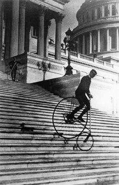 Bill Robertson of the Washington Bicycle Club rides an American Star Bicycle down the steps of the United States Capitol in 1885