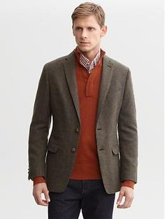 Heritage textured wool two-button blazer | Banana Republic