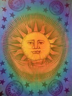 Celestial Sun Moon Stars Tapestry Detail Moon Sun