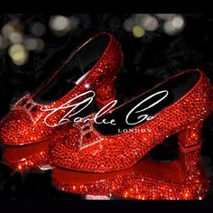 CHARLIE CO. Crystal Ruby Slippers Replica Low Heel Wizard Of Oz Heels Bridal Wedding Prom Evening Sparkly Occasion Ruby Red Dorothy