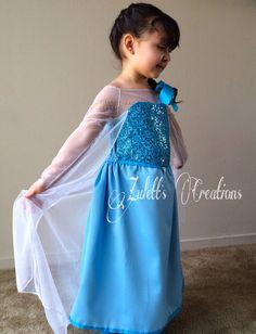 Frozen dress-up Elsa's Dress Size between 612 Mos to size 5. by ZulettsCreations, Ice Dresses, Flower Girl Dresses, Wedding Dresses, Tutu Dresses, Party Dresses, Frozen Dress Up, Frozen Theme Party, Princess Dress Up, Elsa Dress