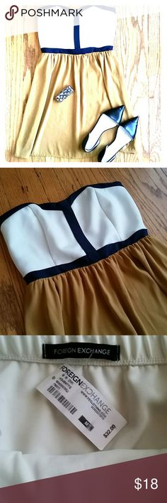 BRAND-NEW Foreign-Exchange mini Very classy strapless mini dress, black and white top, and golden flowy bottom, very cute especially for date night or a wedding. Foreign Exchange Dresses Mini