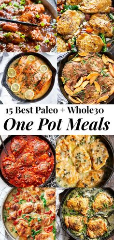 This recipe roundup includes 15 of the best one pot paleo meals featured on Paleo Running Momma! All are easy and perfect for weekdays when time and energy is lacking. These one pot meals are also Healthy One Pot Meals, Easy Clean Eating Recipes, Easy One Pot Meals, Clean Eating Meal Plan, Healthy Soup Recipes, Clean Eating For Beginners, Clean Eating Snacks, Eating Paleo, Easy Paleo Dinner Recipes