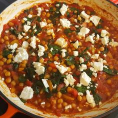 Spicy Middle Eastern inspired chickpeas with feta- perfect for any time of day! Get the recipe here: http://wp.me/p4O5jd-sN