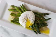 Asparagus with a Poached Egg and Roasted Garlic Miso Butter by hapanom #Egg #Asparagus