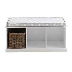 This sleek, white storage bench offers a place to sit and space for toys & other bits & bobs. White Storage Bench, Cube Storage, Storage Baskets, Bench Cushions, Declutter, Family Room, Star, Furniture, Bedroom