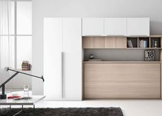 Cama Abatible Individual Horizontal para comedor Space Saving Bedroom, Eclectic Modern, Space Interiors, Murphy Bed, Spare Room, Home Hacks, Sweet Home, Interior Design, Furniture