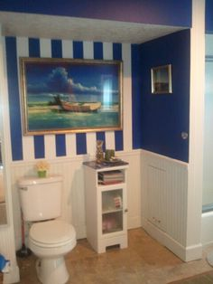 Nautical bathroom project - like the striped wall - I'd consider yellow