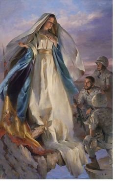 Our Blessed Lady protecting the troops.
