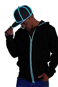 Light-up black snap back hat with ultra bright el wire. Comes in 4 colors, blue, green, red & pink. Superior quality stitching with 3 light-up