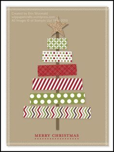 Digital Washi Tape Christmas Tree Card by WIP Paper Crafts - Cards and Papers - Christmas Cards Homemade Christmas Cards, Christmas Tree Cards, Handmade Christmas, Homemade Cards, Christmas Card Designs, Simple Christmas, Xmas Tree, Christmas Christmas, Washi Tape Cards