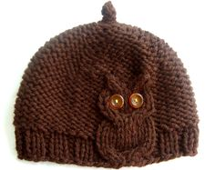 Brown Owl Cable Knit Hat Want this in purple
