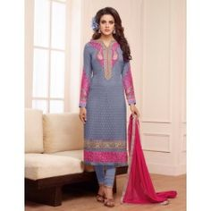 Blue Georgette Embroidered Straight Suit
