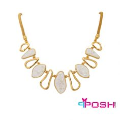 Fashion necklace - Gold toned with snake chain - Ivory coloured enamel coated abstract shapes length) - Lobster clasp closure with 6 cm extender - Dimensions: 50 cm necklace length Fashion Bracelets, Fashion Necklace, Fashion Jewelry, Necklace Lengths, Necklace Set, Gold Necklace, Jewelry Accessories, Jewelry Design, Jewelery