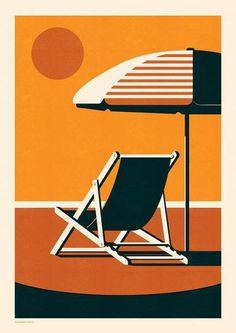 Telegramme Paper Co - Endless Summer Deckchair Beach Illustration, Graphic Design Illustration, Mouse Illustration, Arte Pop, Papers Co, Giclee Print, Screen Printing, Pop Art, Design Inspiration