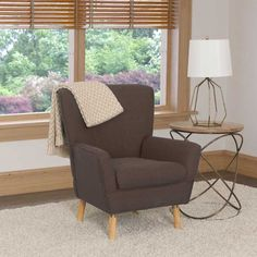 This retro inspired accent chair can instantly upgrade the look of any room. The high back is complimented by the low rounded armrest and wood legs, giving this accent chair an attractive contemporary look. Living Room Seating, Club Chairs, Contemporary, Modern, Accent Chairs, Armchair, Brown, Furniture, Home Decor