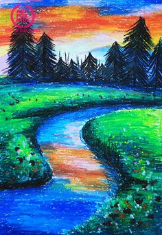 artforkids.com.vn (@Artforkidsvn) | Twitter Beautiful Scenery Drawing, Scenery Drawing For Kids, Art Drawings For Kids, Beautiful Drawings, Oil Pastel Paintings, Oil Pastel Art, Oil Pastel Drawings, Oil Pastel Landscape, Landscape Paintings
