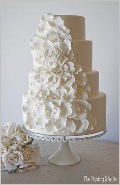 Large White Garden Rose Wedding Cake by The Pastry Studio:Daytona Beach,Fl