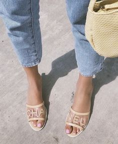 these shoes are made for summer 🍋 Crazy Shoes, Me Too Shoes, Fancy Shoes, Shoes Heels Wedges, Shoes Sneakers, Chanel Shoes, Chanel Sandals, Spring Shoes, Mode Inspiration